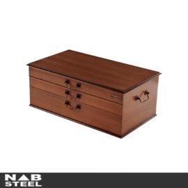 سرویس قاشق و چنگال ناب استیل مدل جعبه چوبی Varian 116